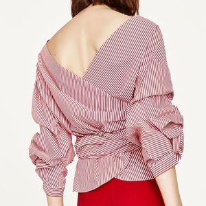 Zara Red and White Striped Wrap Top
